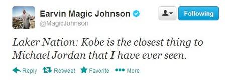 """科比/""""魔术师""""约翰逊推特截屏..."""