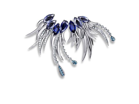胸针 标题:天鹅湖 公司:北京恒信珠宝 国家:中国 金属材质:18k白金