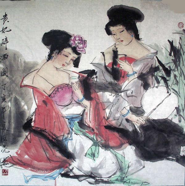 古代青衣女子工笔画