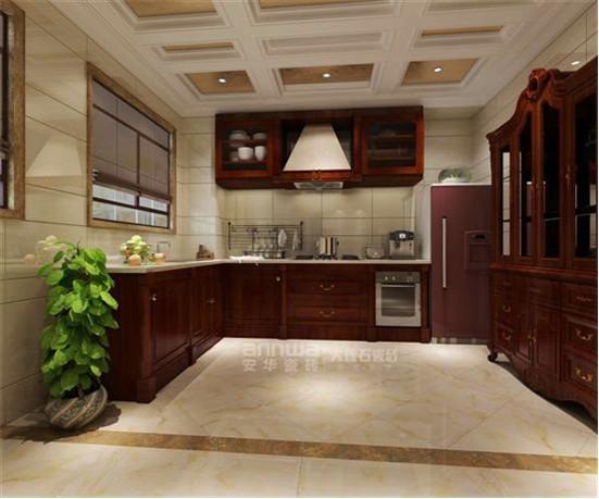 沙县别墅样板房地面安华大理石瓷砖冰魄玉墙面厨房
