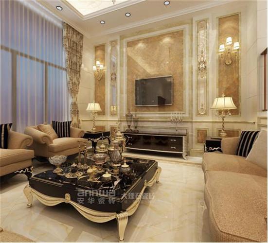 沙县别墅客厅电视背景墙安华大理石瓷砖秘鲁海域