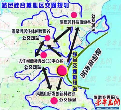 届时,核心区居民乘车到达火车北站,飞机场,汽车东站等青岛主要对外