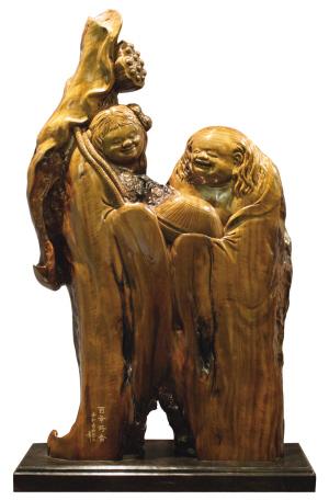 金丝楠木工艺品《百年好合》