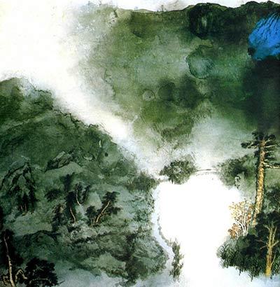 浅蓝色水墨山水高清素材