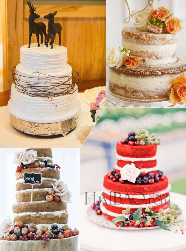 """夏日婚礼蛋糕 或许你之前在很多婚礼场合也见到过类似的蛋糕,它们色泽动人点缀着各类应季的水果,让人垂涎三尺。新鲜的草莓、丝滑的巧克力、清香的奶油等都成为制作这类婚礼蛋糕的最佳选择。丰富的层次之间充满了各种甜蜜的食材,美味与艺术欣赏价值共存,它们有一个共同的名字""""Naked Cake"""":""""裸蛋糕"""",顾名思义就是指外层没有添加奶油或奶霜的蛋糕,将蛋糕层次中的材料完全""""裸露""""地展现在宾客眼前。裸蛋糕虽然没有传统蛋糕精美的奶油雕花和艳丽缤纷的"""