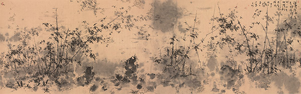 《山光映潭影,丹青深浅境》-169cmx53cm-纸本水墨-2014年