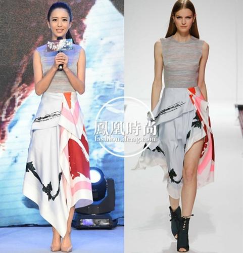 佟丽娅身穿Dior 2015早春系列连身裙出席电影发布会-佟丽娅身穿