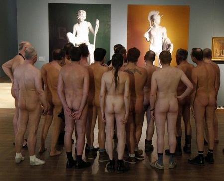 visitors visit & other naked; Naked man throughout the art exhibition &;