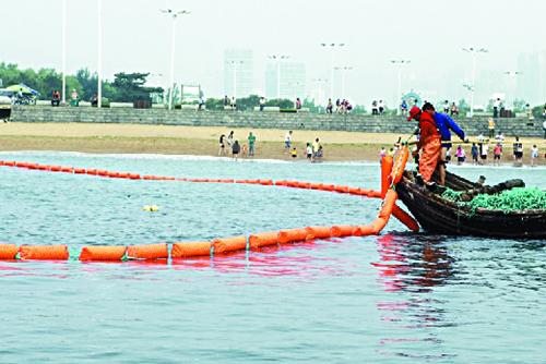 日照市万平口海滨风景区海水浴场设置防鲨网
