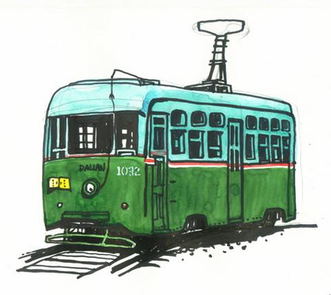 手绘火车头简图