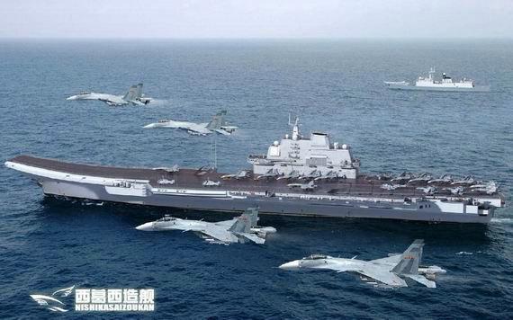 资料图:中国航母编队想象图。
