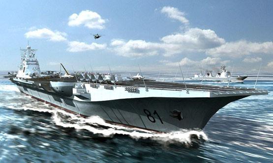 资料图:中国航母编队海上航行想像图。