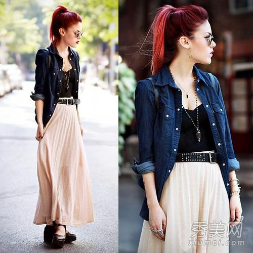 针织衫搭配长裙 淑女风格最有气质
