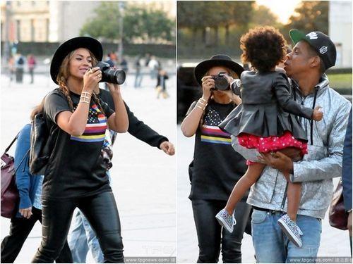 碧昂丝携老公女儿同逛罗浮宫 狂拍照秀甜蜜(图)