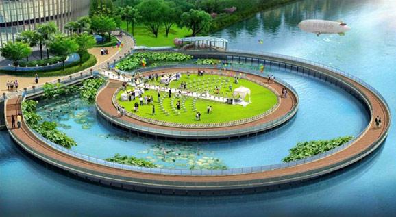 圆形温泉手绘设计