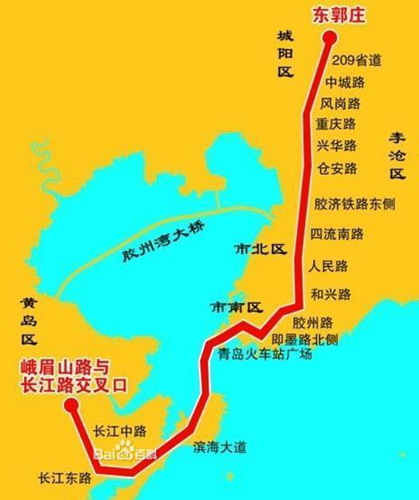 地铁1号线线路图-青岛地铁1号线2017年建成 跨海穿行投349亿