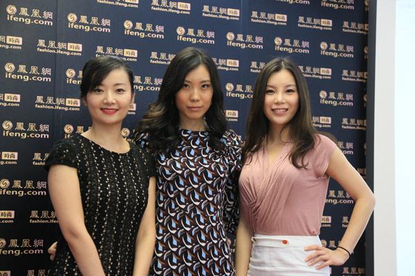 三位女高管打造妆容后的合影