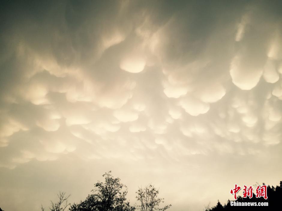 河北金山岭长城雷雨过后现罕见乳房云