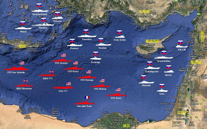 俄美地中海军舰部署图