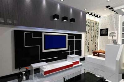在客厅电视背景墙装修过程中,首先需要考虑的是其与整体的客厅的搭配