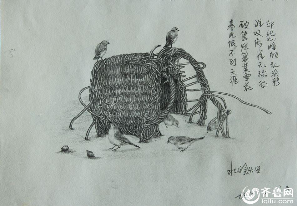潍坊50岁女职工创作八百幅铅笔画 自学成才配打油诗