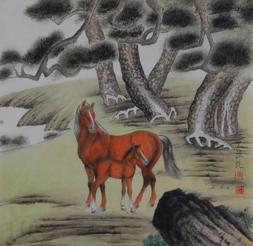 张桂枝擅长动物,花鸟工笔画,书法以瘦金体见长,多次参加国内各级书画