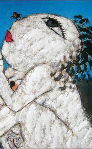 油画:《人与小虫的述说之二》