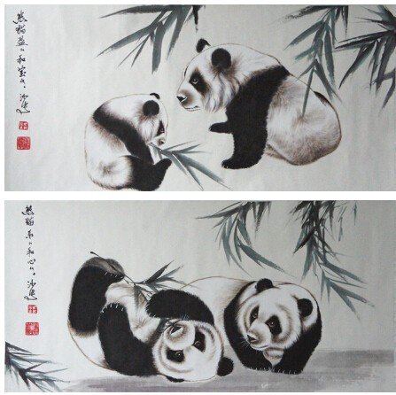 可爱熊猫的一幅画
