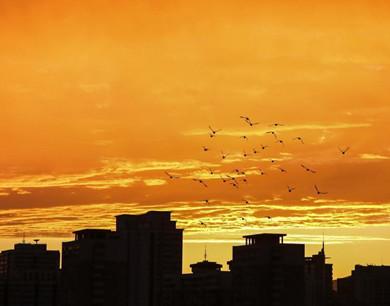 北京傍晚现美丽彩虹火烧云