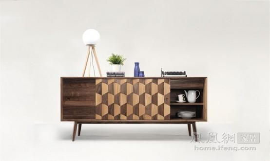 充满设计感的拼色木家具 天然木纹营造的时尚气息