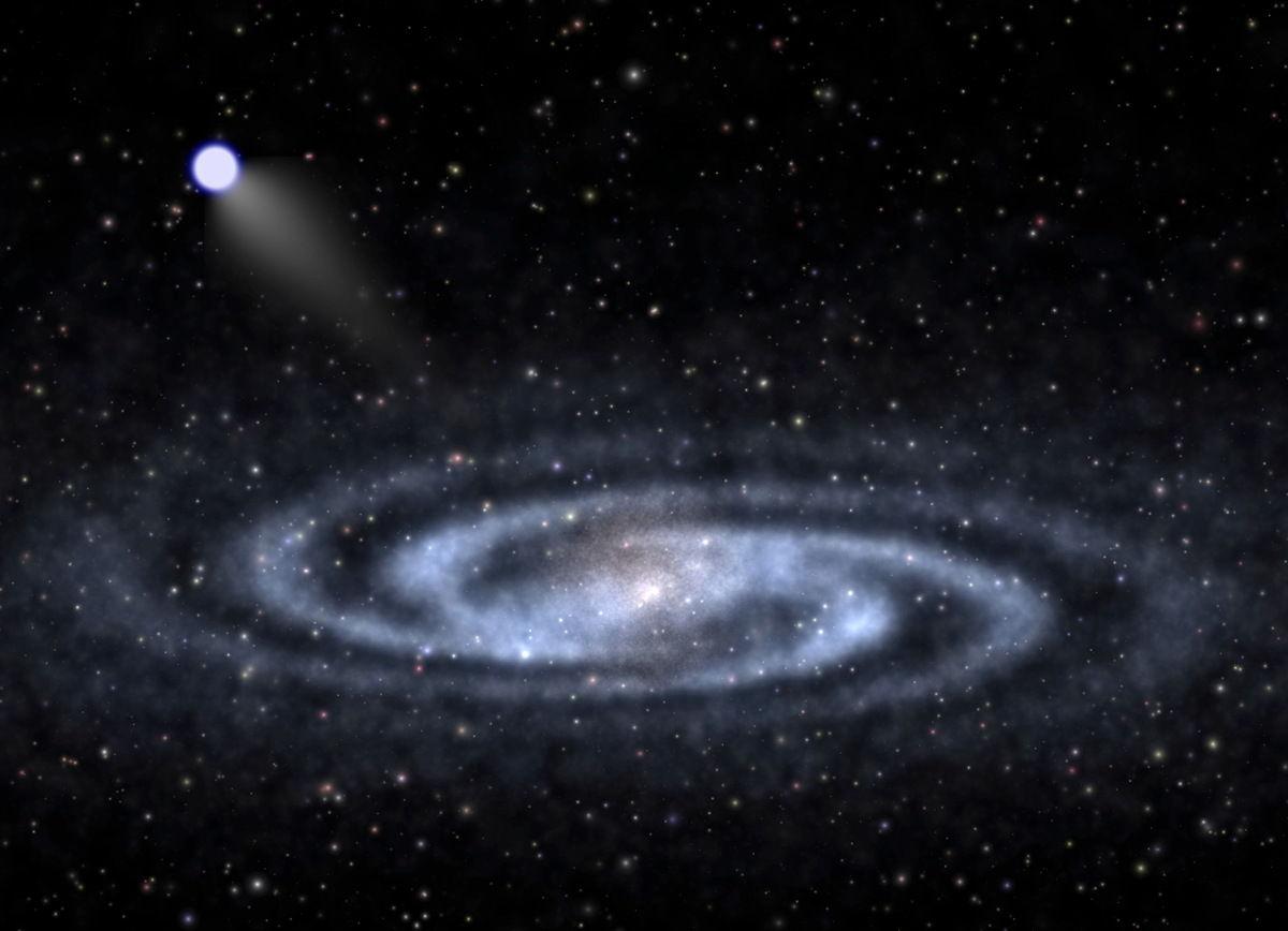 这张天体物理学家-艺术家的概念图描绘了一颗极高速