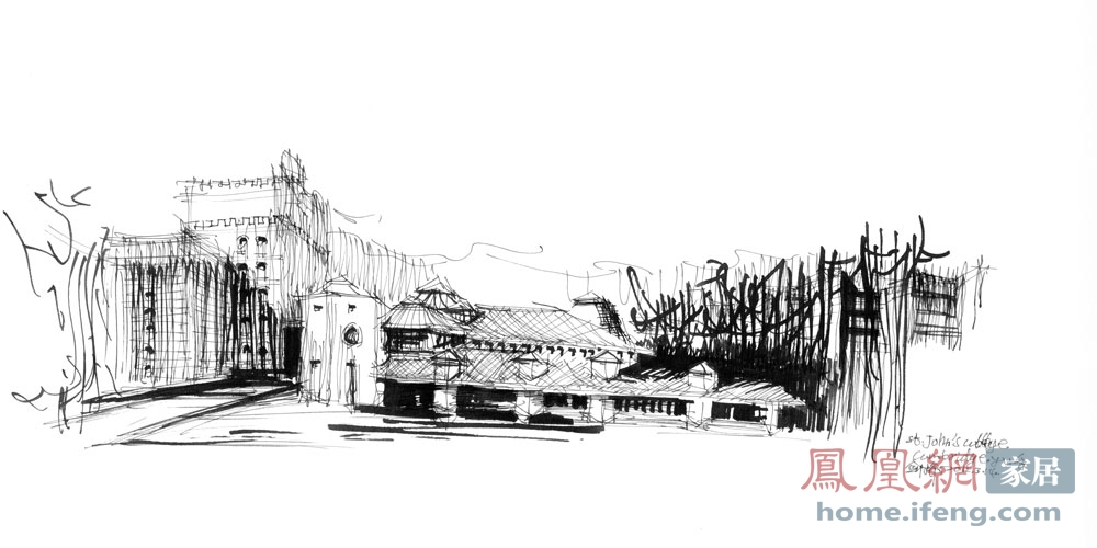 余工建筑手绘线稿