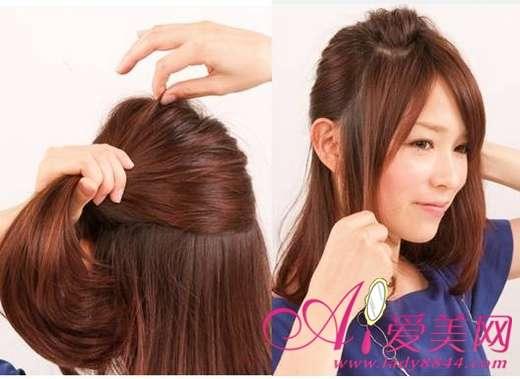 斜扎发型步骤图解