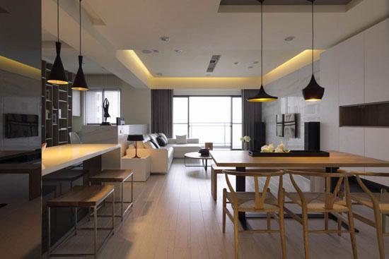 大理石,观音石,超耐磨地板,木作,镜面空间格局:玄关,客厅,餐厅,厨房