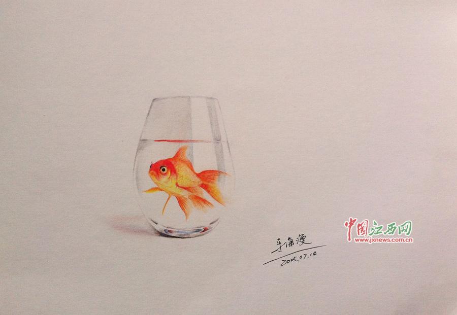 铅笔画出 真鱼 这个九江工科男有一手 图