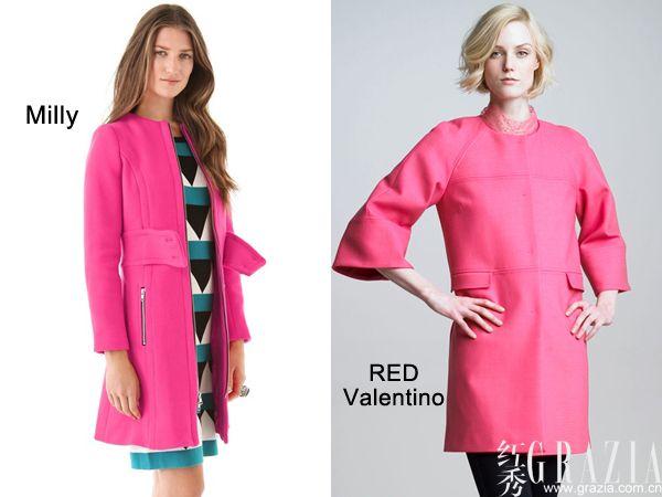 milly粉红色拉链大衣外套;red