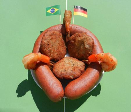 美国艺术家巧手混搭各国美食重现世界杯