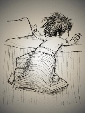 他一直觉得小孩吃饭和睡觉是最可爱的,那是种最真实的一种表达还有