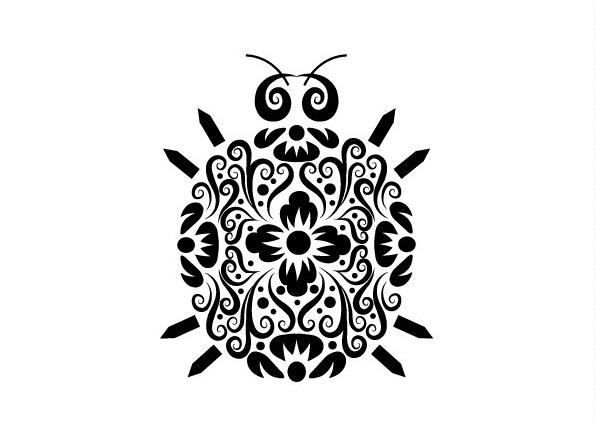 黑白线条蛇插画手绘