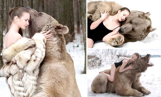 美女与巨熊雪地相拥 呼吁减少猎杀