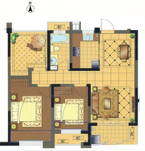 我家的平面图.房子的建筑面积113方,但使用面积只有90平,高清图片