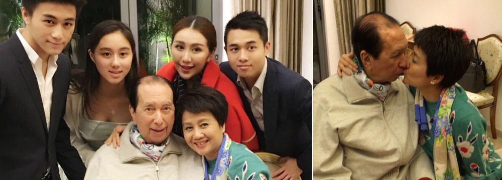 赌王94岁生日家中办派对 与四太梁安琪甜蜜亲吻