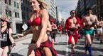 美国华盛顿民众零下6度穿内衣赛跑 为慈善募捐