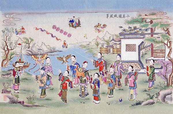 青年画《十美图放风筝》,展现了十姐妹在春日里运河边踏青放风筝图片
