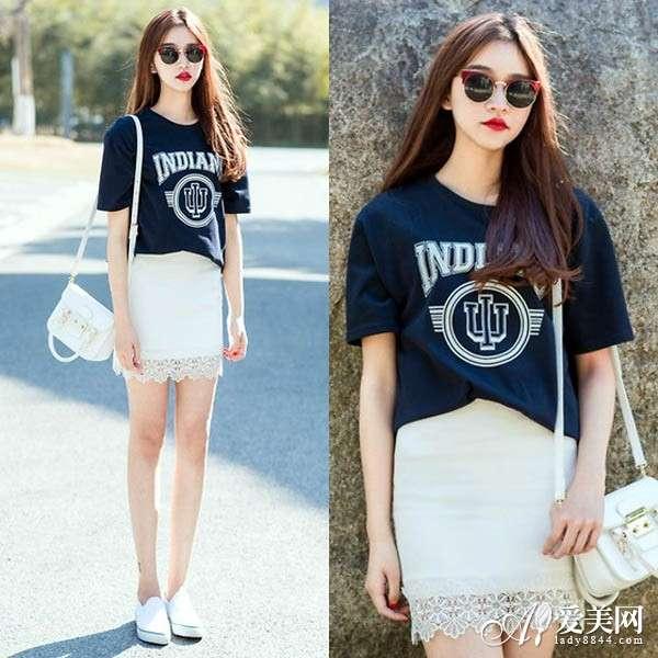 包臀裙+白色帆布鞋