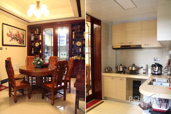 中式窗花造型的波导线,电视背景墙特地选择黄铜石铺贴,边缘配合实木通