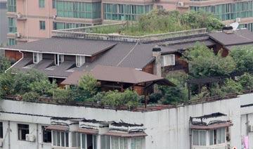 """武汉一居民楼顶建两层""""豪华别墅"""" 堪称最牛还配有鱼池"""