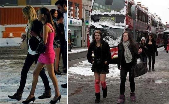 美女雪天穿吊带裙不畏寒冷高清图片