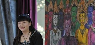 小彩旗妈妈杨丽梅的照片及出自她之手的以杨丽萍的《藏谜》为题材的
