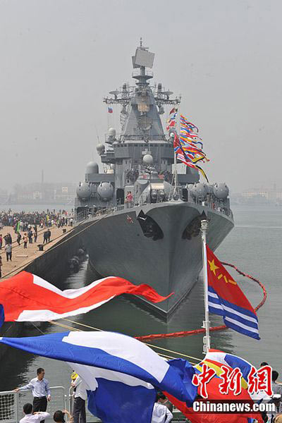 俄罗斯参演军舰升五星红旗庆祝中国海军节 - 似水流年 - 似水流年